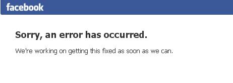 A facebook error message