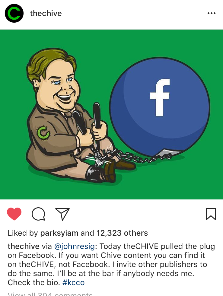 An instagram post announcing the Chive is cutting ties to Facebook