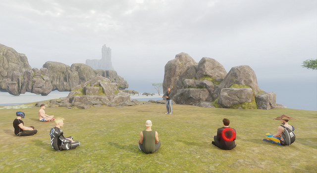 A group of virtual reality avatars sitting in a circle engaging in meditation