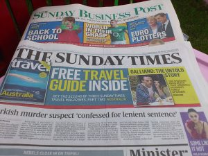 """A picture of a couple of local newspapers """"The Sunday Times"""" and """"The Sunday Business Post"""""""